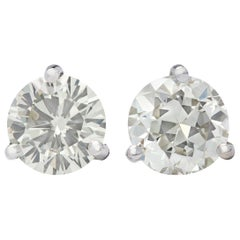 2.22 Carat Diamond Solitaire Stud Earrings