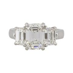 2.22 Carat Emerald Cut GIA Diamond Three Stone Engagement Ring Platinum in Stock