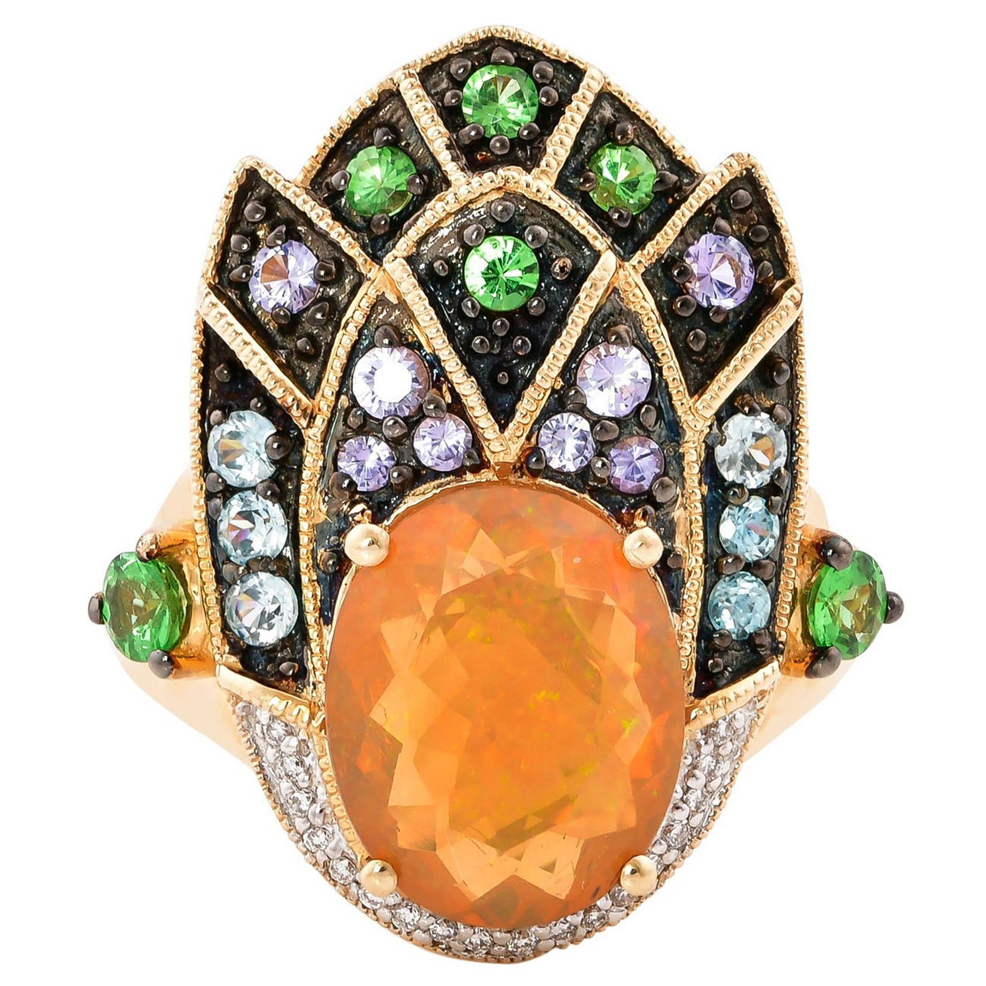 2.22 Carat Ethiopian Opal Ring in 14 Karat Yellow Gold with Diamonds