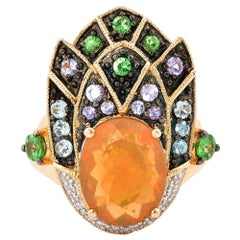 2.22 Carat Ethiopian Opal Ring in 14 Karat Yellow Gold with Diamonds