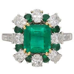 2.22 Carat French Unenhanced Muzo Emerald Diamond Cluster Ring, circa 1960