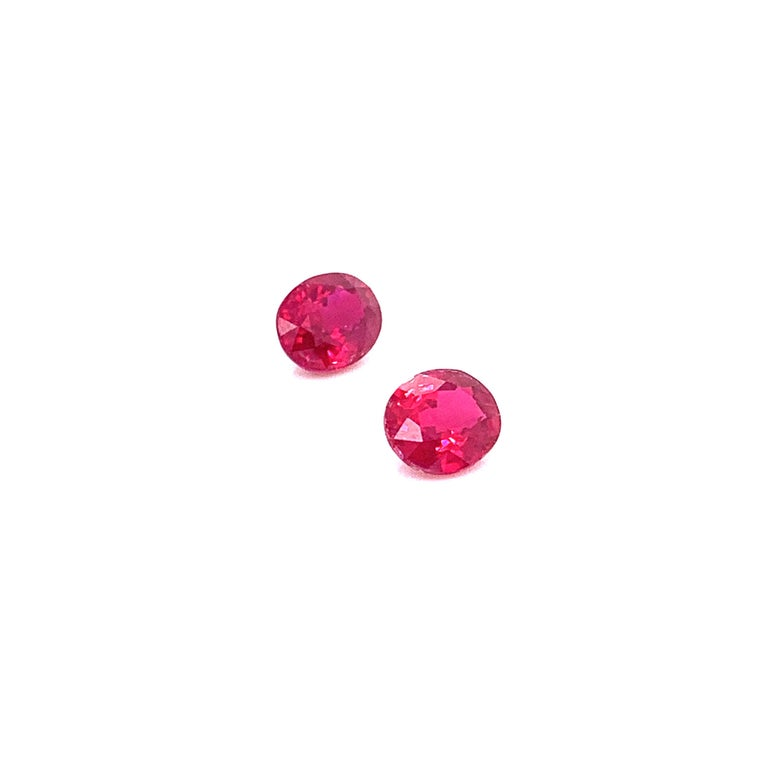 Oval Cut 2.22 Carat GRS Certified Oval Burmese Pigeon's Blood Red Ruby, Pair For Sale