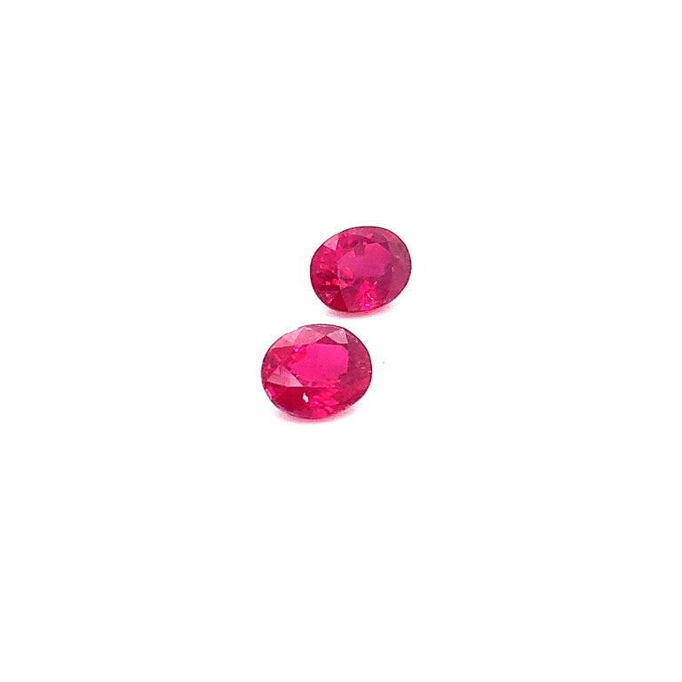 Women's or Men's 2.22 Carat GRS Certified Oval Burmese Pigeon's Blood Red Ruby, Pair For Sale