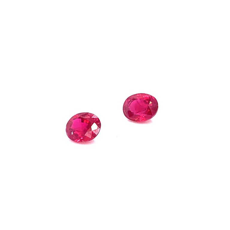 2.22 Carat GRS Certified Oval Burmese Pigeon's Blood Red Ruby, Pair For Sale 1