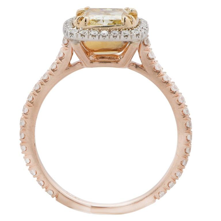 2.22 Carat Light Yellow Cushion Cut Diamond Engagement Ring For Sale 1
