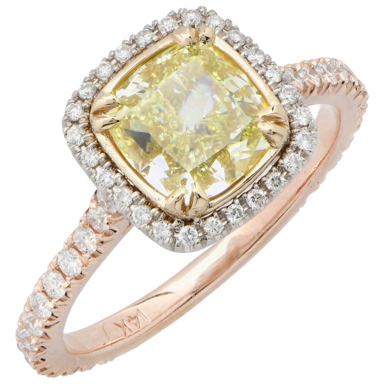 2.22 Carat Light Yellow Cushion Cut Diamond Engagement Ring For Sale