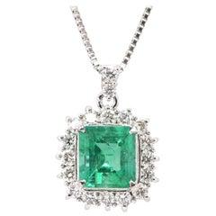 2.22 Carat Natural Emerald and Diamond Pendant Set in Platinum