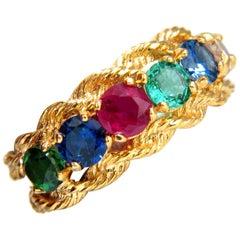 2.22 Carat Natural Emerald Sapphire Ruby Tsavorite Fancy Color Diamond Ring