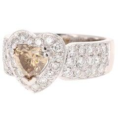2.22 Carat Natural Fancy Brown Diamond Engagement 18 Karat White Gold Ring