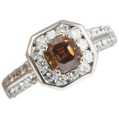 2.22 Carat Natural Fancy Golden Brown Asscher Cut Diamond Ring 14 Karat VS