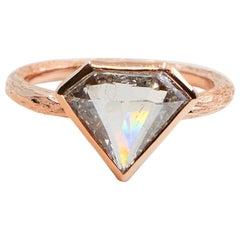 2.22 Carat Natural Salt and Pepper Shield Cut Diamond Ring, 18 Karat Pink Gold
