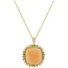 22.2 Carat Opal, Tsavorite, and Diamond Pendant