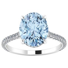 2.22 carat Oval Blue Aquamarine and White Diamonds Pave' in Platinum