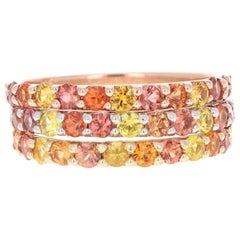 2.22 Carat Round Cut Multicolored Sapphire 14 Karat Gold Stackable Bands