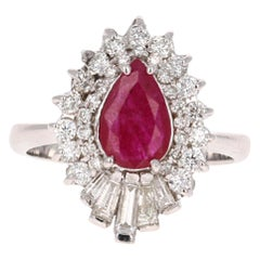 2.22 Carat Ruby Diamond 14 Karat White Gold Cocktail Ring