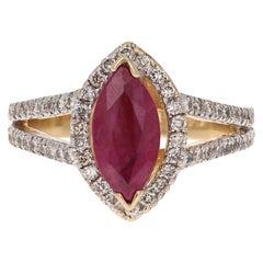 2.22 Carat Ruby Diamond 14 Karat White Gold Engagement Ring