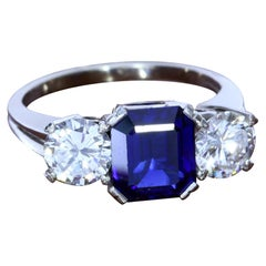 2.22 Carat Sapphire and Diamond Three-Stone Ring