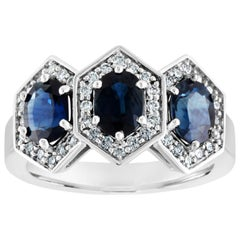 2.22 Carat Three-Stone Hexagon Blue Sapphire Diamond Gold Band Ring