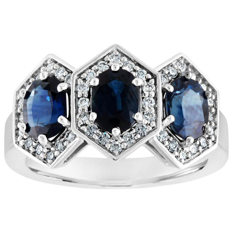 2.22 Carat Three-Stone Hexagon Blue Sapphire Diamond Gold Band Ring For Sale