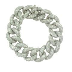 22.21 Carat Diamond-Paved Chain Link Bracelet in White Gold