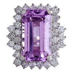 22.21 Carat Kunzite 18 Karat White Gold Diamond Ring