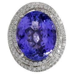 22.22 Carat Tanzanite 18 Karat White Gold Diamond Ring