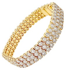22.22 Carat 'total weight' Three-Row 18 Karat Gold Diamond Link Bracelet