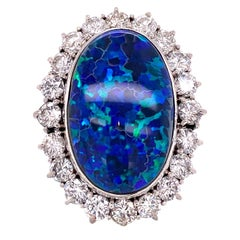 22.23 Carat Black Opal Platinum Ring with a Diamond Halo