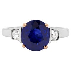 2.22ct Blue Sapphire and Diamond Platinum and Rose Gold Engagement Ring