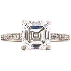2.23 Carat Asscher Cut Diamond Platinum Solitaire Engagement Ring GIA G/VVS2
