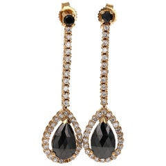 2.23 Carat Black and White Diamond Yellow Gold Drop Earrings