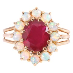 2.23 Carat Burma Ruby and Opal Ring