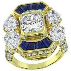 2.23 Carat Center Diamond 3.80 Carat Side Diamond Sapphire Gold Ring