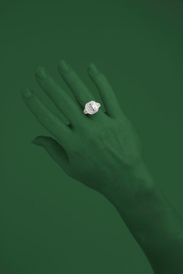 Baguette Cut DiamondTown 2.23 Carat Diamond Cluster Bridal Engagement Ring For Sale
