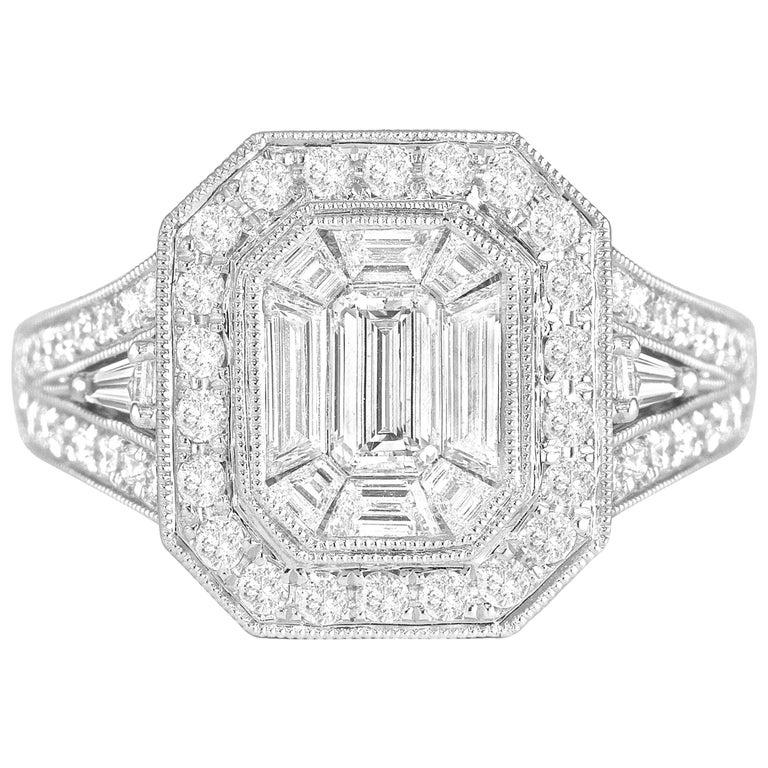 DiamondTown 2.23 Carat Diamond Cluster Bridal Engagement Ring For Sale