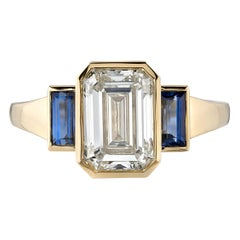Handcrafted Amelia Emerald Cut Diamond Ring with Sapphires by Single Stone
