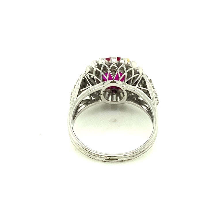 Round Cut 2.23 Carat Gubelin Certified Unheated Burmese Ruby and White Diamond Gold Ring For Sale