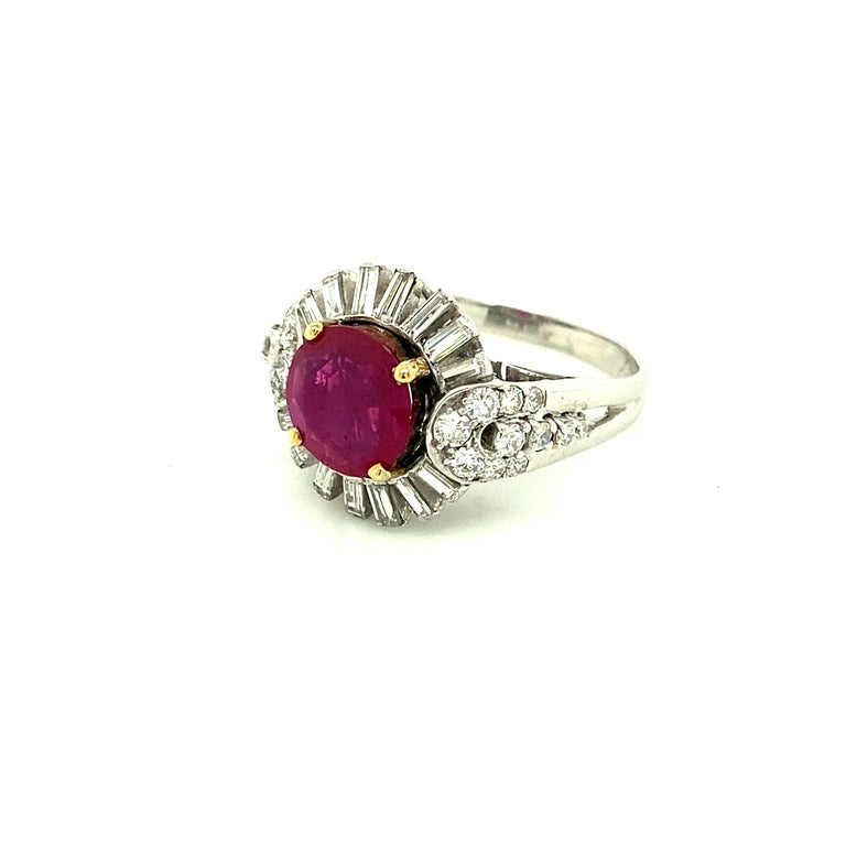 Women's or Men's 2.23 Carat Gubelin Certified Unheated Burmese Ruby and White Diamond Gold Ring For Sale