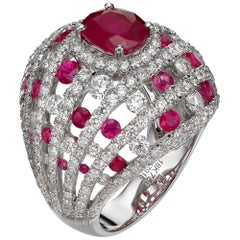 2.23 Carat Oval Ruby Diamond 18 Karat White Gold Cocktail Dome Ring