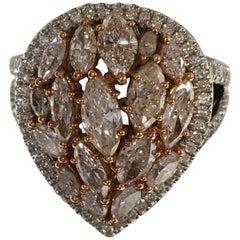 2.23 Carat Pink and 0.42 Carat White Diamonds Set in 18 Karat Gold Cocktail Ring