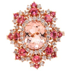 2.23 Carat Pink Morganite, Pink Tourmaline and Diamond Ring