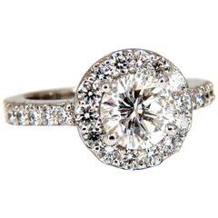2.23 Carat Round Diamonds Halo Cluster Ring 14 Karat