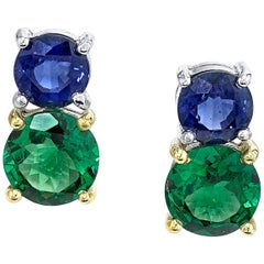 2.23 Carat Tsavorite Garnet and Blue Sapphire 18 Karat Stud Gold Earrings