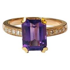 2.23 Carat Amethyst Diamond Cocktail Ring