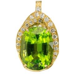 22.36 carat Burma Peridot Diamond Gold Pendant