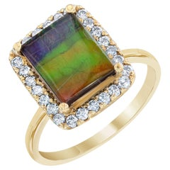 2.24 Carat Ammolite Diamond Yellow Gold Ring
