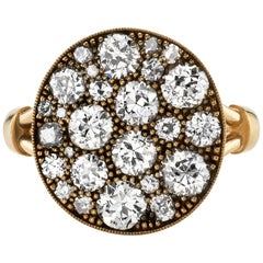 2.24 Carat Cobblestone Diamond Ring Set in 18 Karat Oxidized Yellow Gold