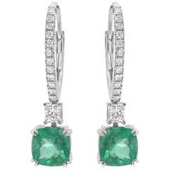 2.24 Carat Colombian Emerald & 0.45 Carat Diamonds 14k White Gold Drop Earrings