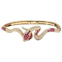 2.24 Carat Diamond and 1 Carat Ruby Snake, Snake Diamond and Ruby Bracelet