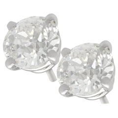 2.24 Carat Diamond and Platinum Stud Earrings